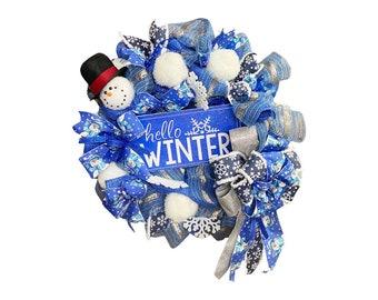 Snowman Wreath for front door,  Winter wreath, Snowball decor,