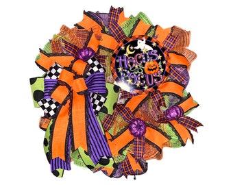 Hocus Pocus Halloween Wreath, Pancake Halloween Wreath, Thin Front Door Wreath, Fall Wreath, Halloween Decoration, Thin Halloween Wreath