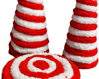 Candy Cane decorative Yarn Tree, Red and White Yarn Tree, Tier Tray Yarn Tree, Christmas Decor, Christmas Table Decor, Mini Christmas Tree