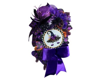 Purple Halloween Witches Hat Wreath,