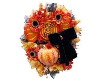 Halloween Trick or Treat Halloween Pumpkin Wreath Elegant Halloween XL Wreath Elegant Halloween Wreath Halloween Sunflowers Pumpkin Decor