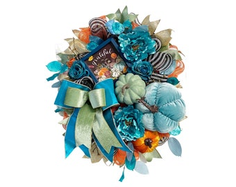 Pumpkin Wreath for Front Door with Grateful Sign Florals Pumpkins and Festive Large Bow with Shades of Blue Festive Fall Entryway Home Décor