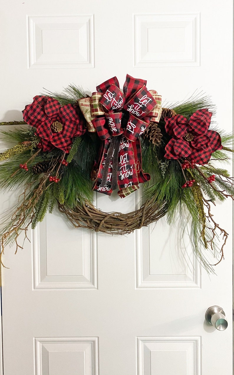 Country Christmas Wreath For Front Door Decor with Buffalo Plaid Poinsettia Flowers Large Bow Cascading Greenery Xmas Porch Wall Hanging