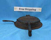Vintage Antique Cast Iron Stover No. 8 Waffle Iron, Wood Handles Griddle Grill Pancakes, Free Shipping