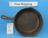 Vintage Antique Cast Iron Skillet, Heat Ring, Cookware, Cowboy Utensils, OLDER , Free Shipping