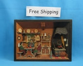 Vintage 3D Wood Wooden Diorama, 3d Shadowbox Picture, Shadow Box, Hand Carved Folk Art, Free Shipping
