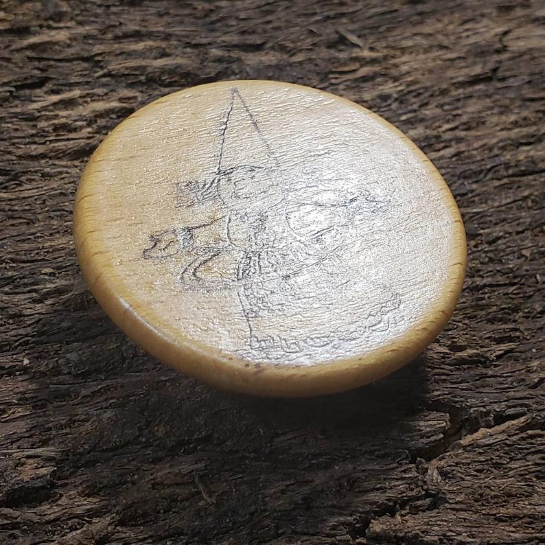 Hula-Hooping Gnome pyrography pin