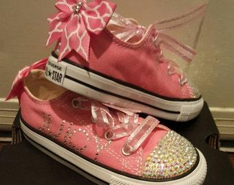 Girls Pink Bling Converse