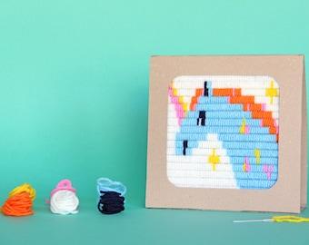 Единорог - вышивка для детей, рукоделие детям, набор для вышивания, Вышивальный набор, простая вышивка, сказка детям, занятия для малышей