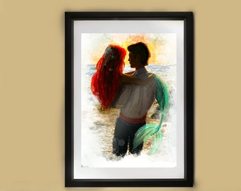 Disney Little Mermaid // Princess Ariel // Prince Eric // Sea folk // Fairy tale // Gift for her