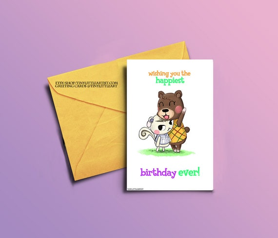 Birthday greeting card maple and marshall animal crossing m4hsunfo