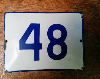 Vintage Preloved  White  & Blue Enamel house Number 48 sign