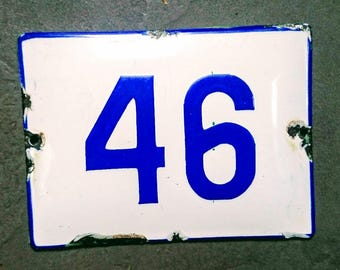 Vintage Preloved  White  & Blue Enamel house Number 46 sign
