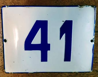 Vintage Preloved  White  & Blue Enamel house Number 41 sign