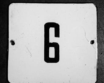 Vintage Preloved  White  & black Enamel house Number 6 or 9 sign