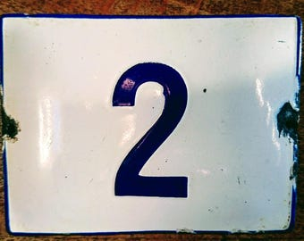 Vintage Preloved  White  & Blue Enamel house Number 2 sign