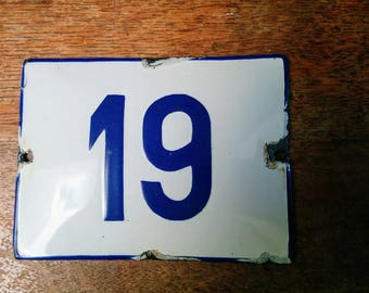 Vintage Preloved  White  & Blue Enamel house Number 19 sign