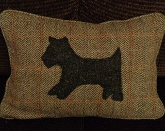 Harris Tweed cushion with scottie dog applique
