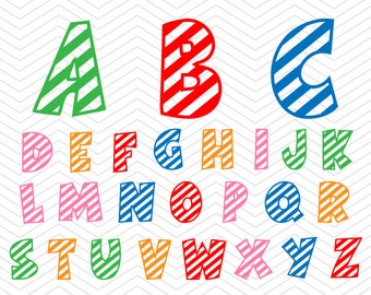 497a6d5c1292 Birthday Alphabet Stripes Lines Letters SVG PNG DXF eps