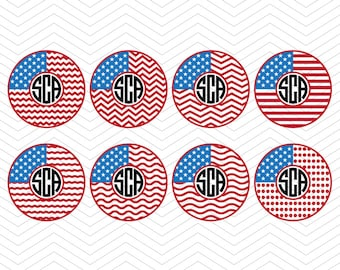 Circle Flag Monogram 4th July independence day Patriotic Monogram Frames DXF SVG PNG eps for Cricut Design, Silhouette studio, Makes the Cut