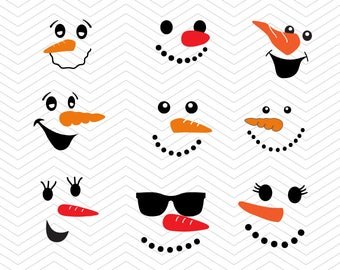 image about Printable Snowman Faces identify Snowman faces svg Etsy
