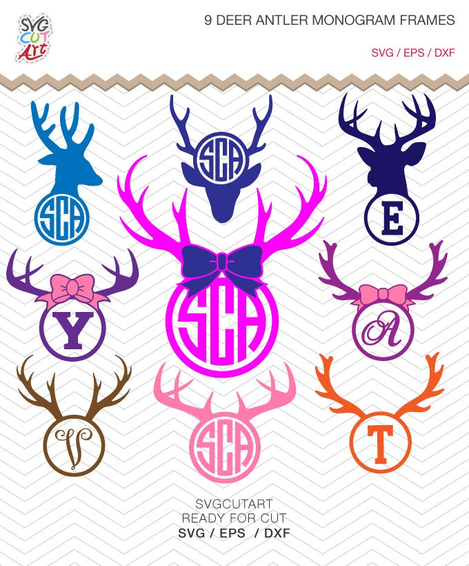 9 Deer Antler Monogram Frames DXF SVG EPS for Cricut Design | Etsy