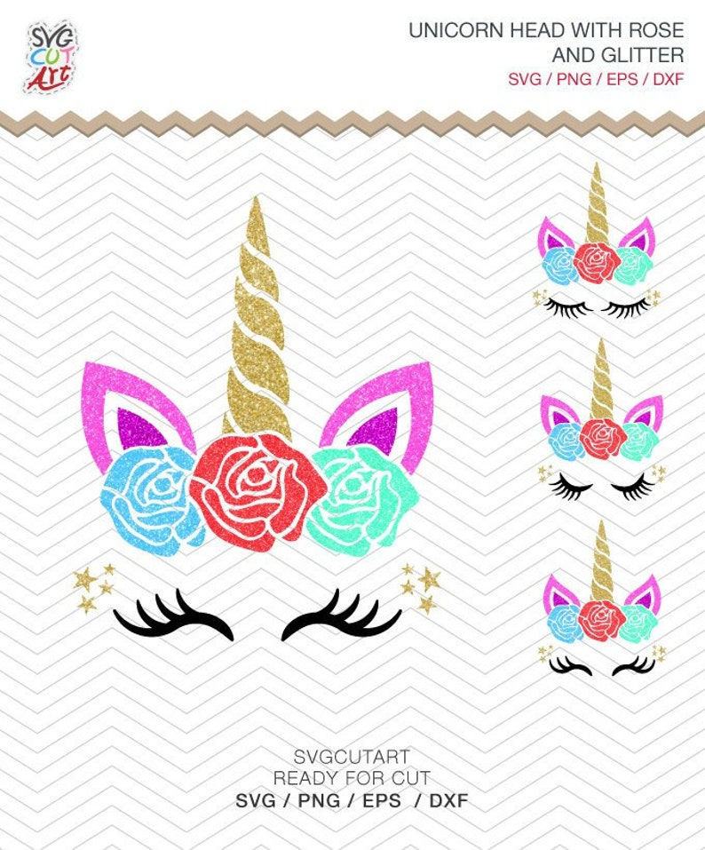 Unicorn svg, unicorn face svg, unicorn head svg, unicorn glitter, rose ,  Clip Art, Cut File, Cricut Design, Silhouette, Instant Download