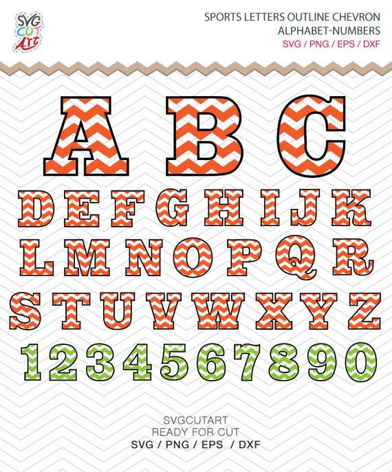 Sports Alphabet Chevron Outline Letters Numbers Svg Png Dxf Etsy