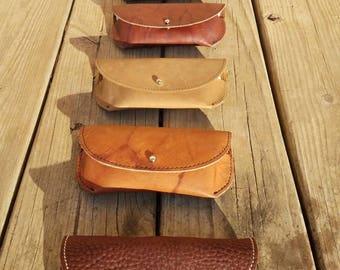 Eyeglass Case, Sunglass Case, Leather Eyeglass Case, Genuine Leather, Vintage  Case,  Rustic Leather, Lombardos Leather
