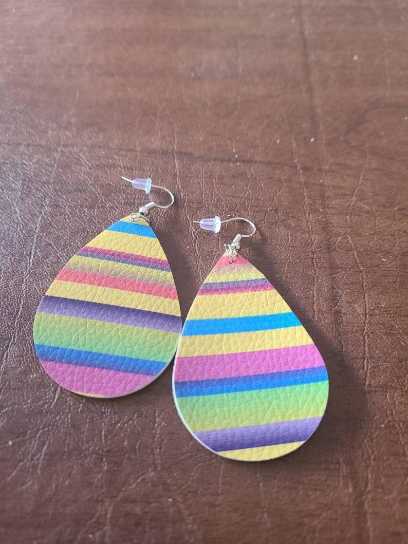 Yellow stripe faux leather earrings