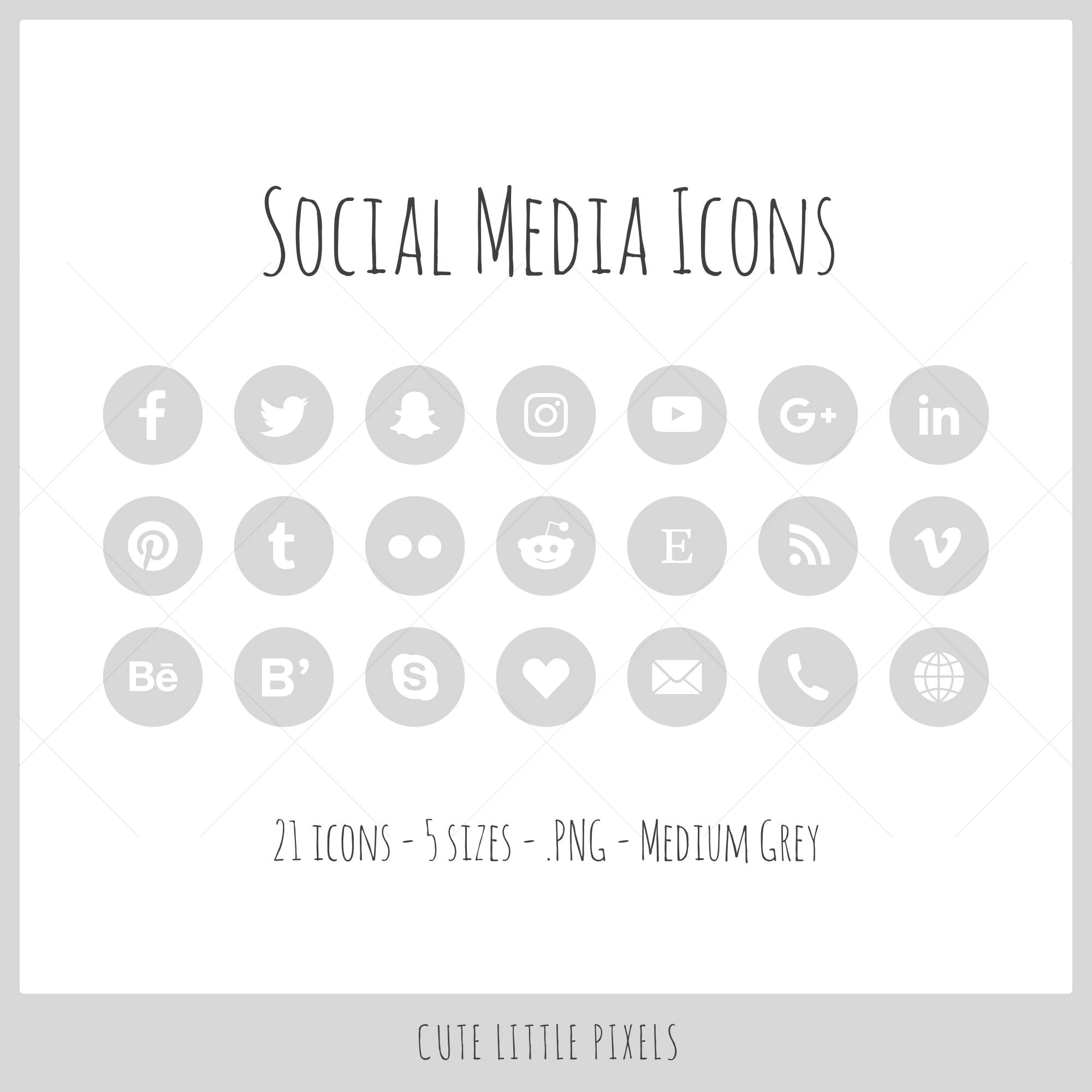 social media icons 21 icons in 5 sizes medium gray png etsy