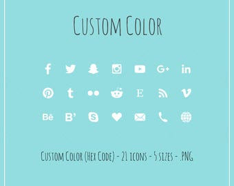 CUSTOM Color - Social Media Icons - Color (hex code) of your choice, 21 icons in 5 sizes, PNG files, flat style