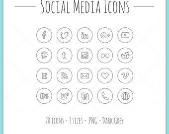 Social Media Icons - 20 icons in 3 sizes, PNG files, dark grey, outline style, black
