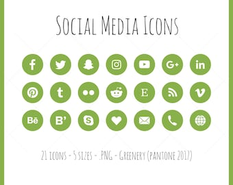 Social Media Icons - 21 icons in 5 sizes, Greenery, Pantone 2017, flat style, PNG files, Green