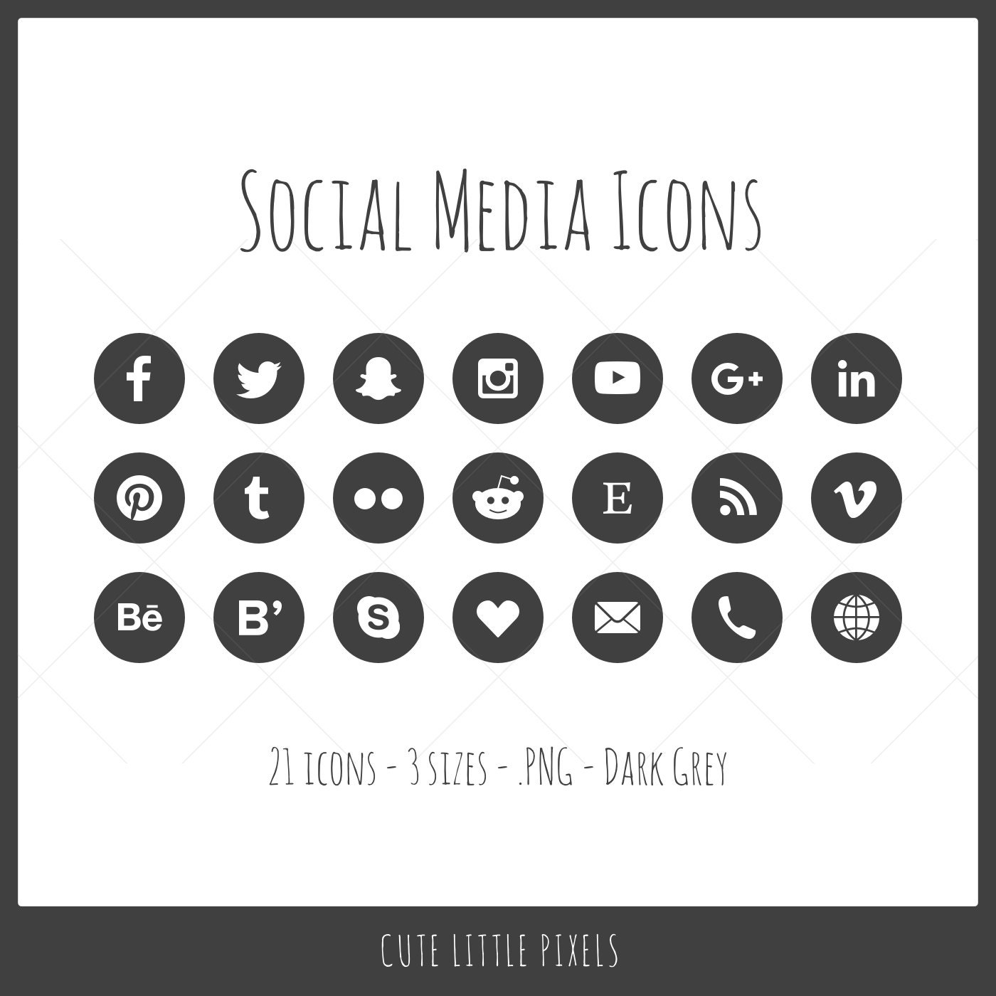 social media icons 21 icons in 3 sizes png files dark etsy