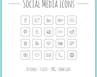 Social Media Icons - 20 icons in 3 sizes, PNG files, dark grey, outline style
