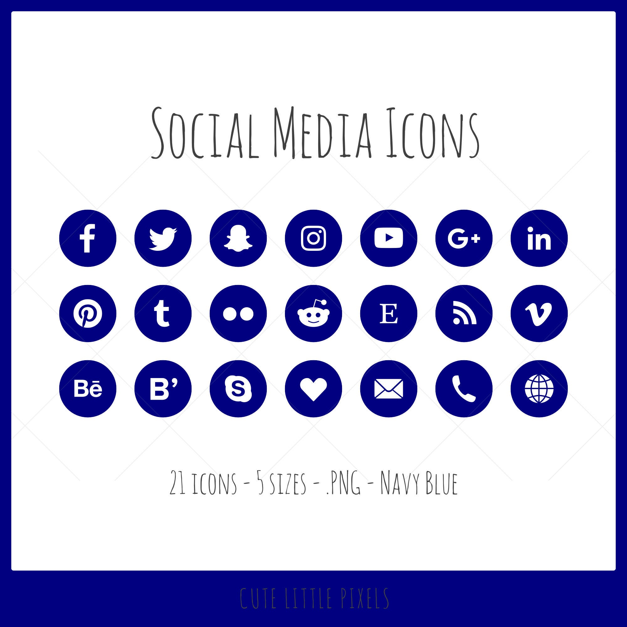 Social Media Icons - 21 icons in 5 sizes, navy blue, PNG files, flat style,  dark blue
