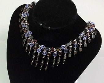 """Necklace """"White Nights"""". Natural hematite, Czech glass beads, beading wire."""