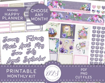 August Monthly Kit made for ECLP or MAMBI Happy Planner Country Botanicals