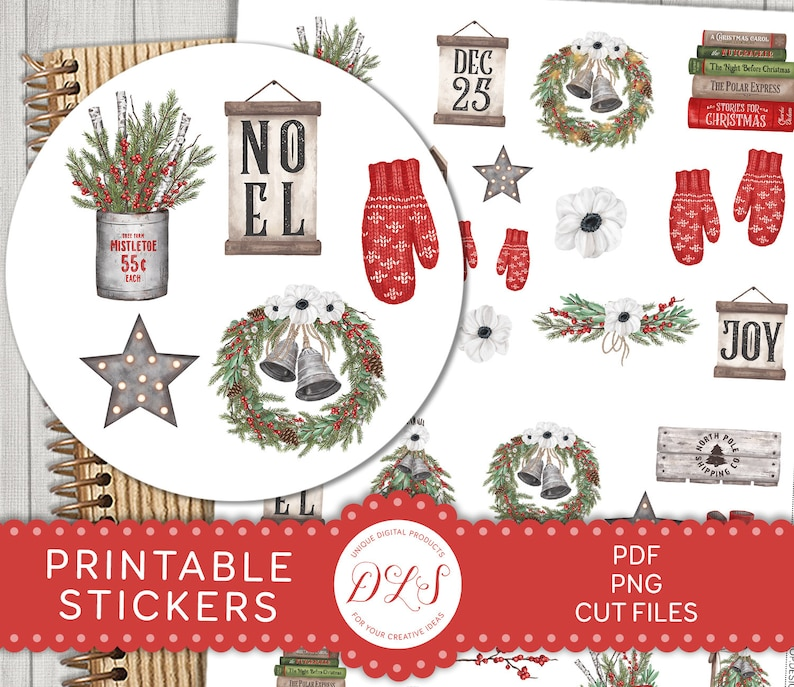 graphic about Printable Christmas Stories identified as Printable Xmas Planner Stickers, Xmas Sbook Stickers, Xmas Ornamental Stickers, Bujo Printable Stickers, DS137