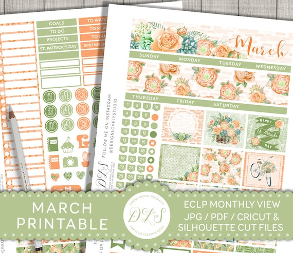 pretty spring March monthly kit March monthly kit Erin Condren Planner Stickers