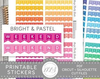 Weekend Banner Planner Stickers, Printable Weekend Banner Stickers, Weekend Banners, Weekend Stickers, Erin Condren, Happy Planner, FS166