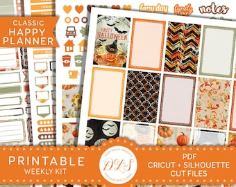 Happy Planner Halloween Stickers, Printable Halloween Planner Stickers, Halloween Weekly Kit, October Planner Stickers, Cut Files, HP104