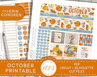October Monthly Kit for Erin Condren Planner, October Planner Stickers, October Monthly Kit Printable, Printable Planner Stickers, MV135