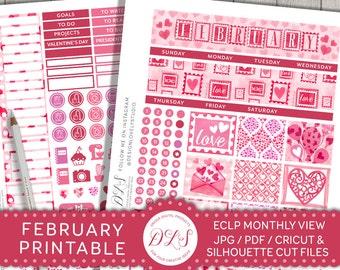 February Monthly Kit, February Planner Stickers, Printable Planner Stickers, February Stickers for Erin Condren, Valentines Planner,  MV118