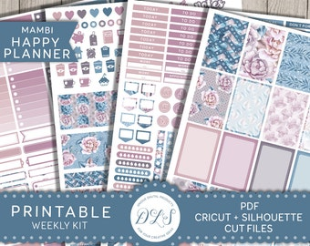Mambi Planner Stickers, Happy Planner Weekly Kit, Printable Stickers, Cut File Stickers, Digital Stickers, Pastel Floral Stickers HP112