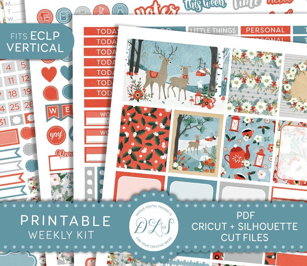 Christmas Gift Planner: Printable Winter Planner Sticker Kit Christmas Planner