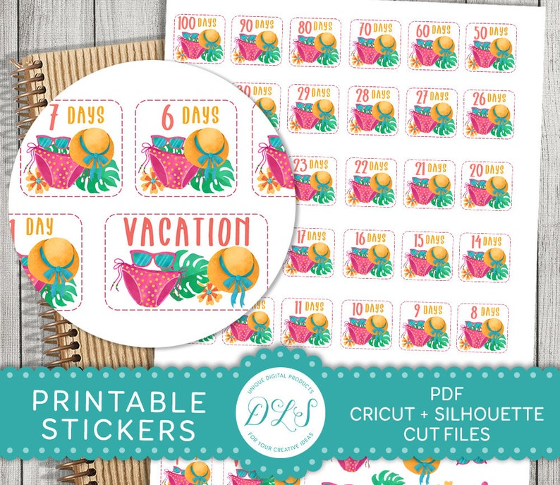 image relating to Vacation Countdown Calendar Printable identify Holiday vacation Countdown Printable Stickers, Holiday Countdown Planner Stickers, Summer time Getaway Planner Stickers Package, Slice Information, PDF, DS122