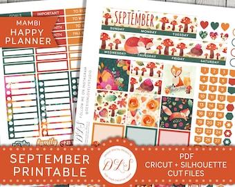 Happy Planner September Stickers, September Monthly Planner Kit, Printable September Stickers, Mambi September, Fall Planner Kit, HPMV132