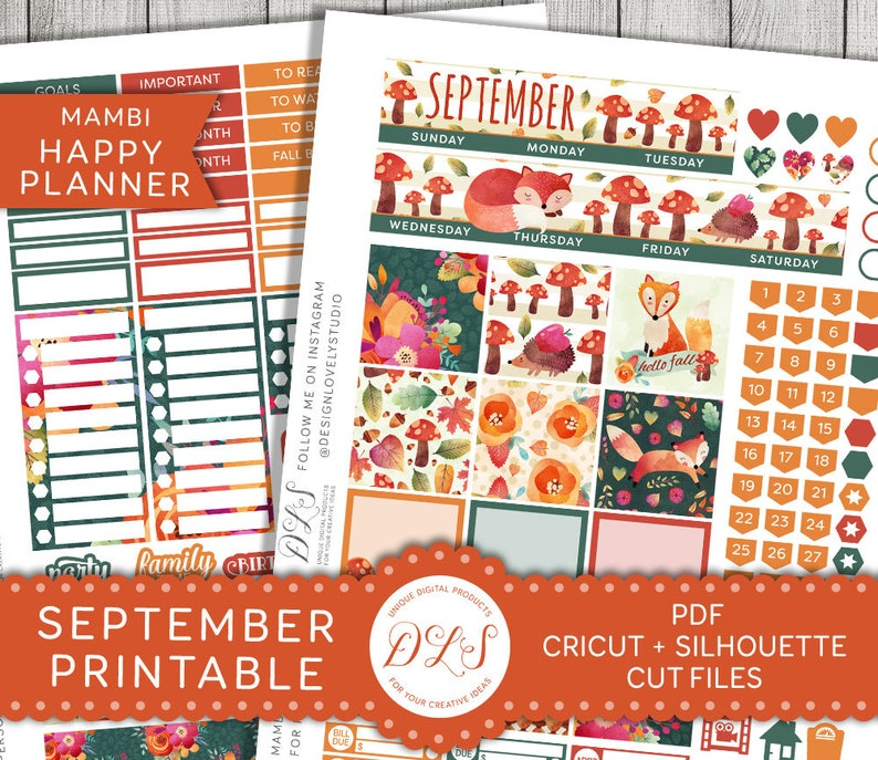 Happy Planner September Stickers September Monthly Planner image 0